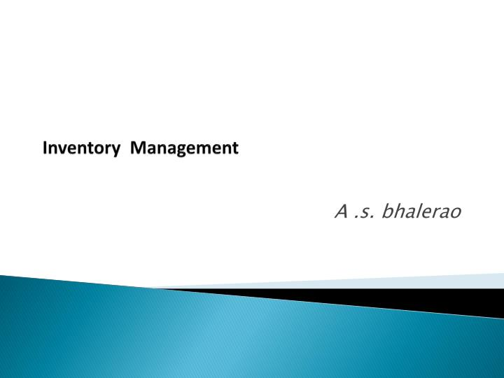 inventory management n.