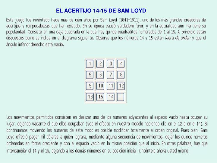 EL ACERTIJO 14-15 DE SAM LOYD