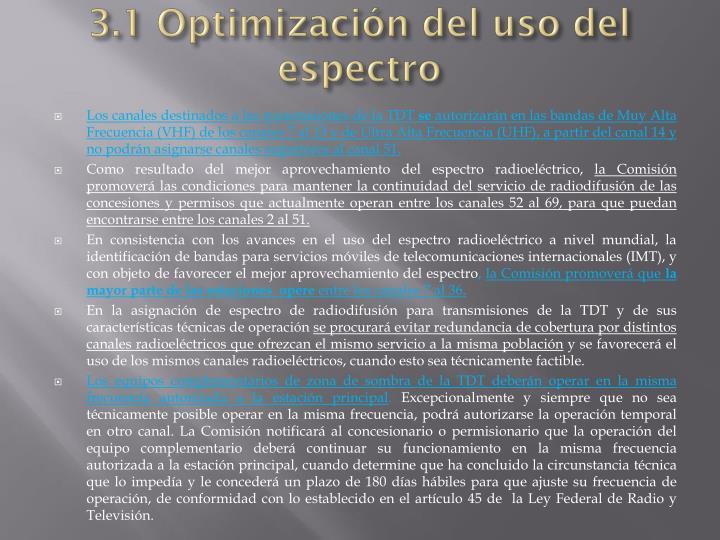 3.1 Optimización del uso del espectro