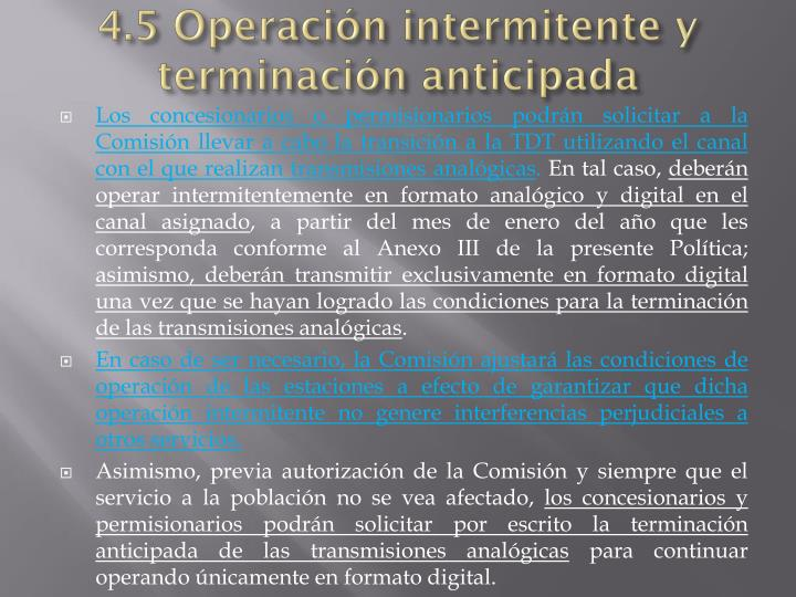 4.5 Operación intermitente y terminación anticipada