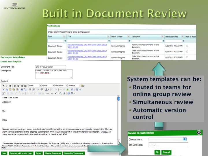 Built in Document Review