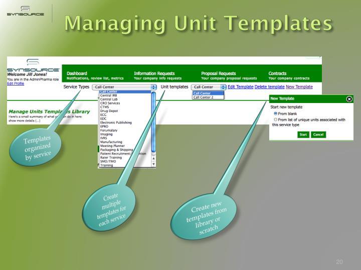Managing Unit Templates