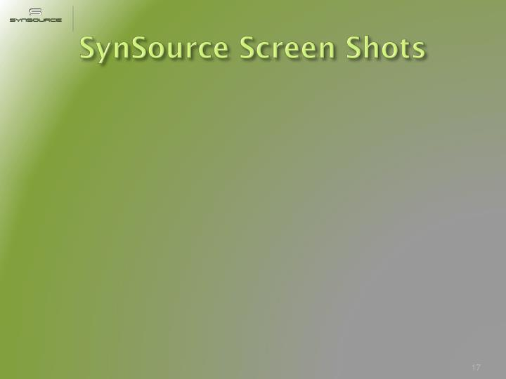 SynSource Screen Shots