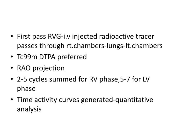 First pass RVG-i.v injected radioactive tracer passes through rt.chambers-lungs-lt.chambers