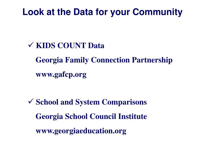 Look at the Data for your Community