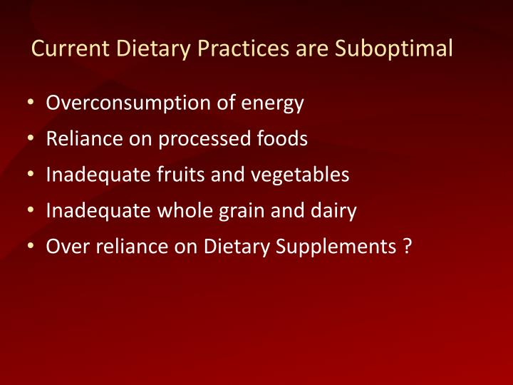 Current Dietary Practices are Suboptimal