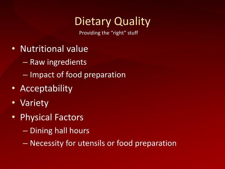 Dietary Quality