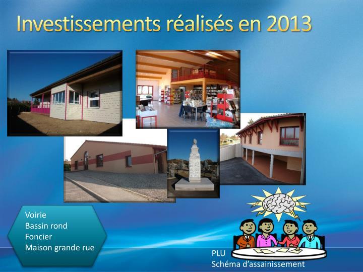 Investissements réalisés en 2013