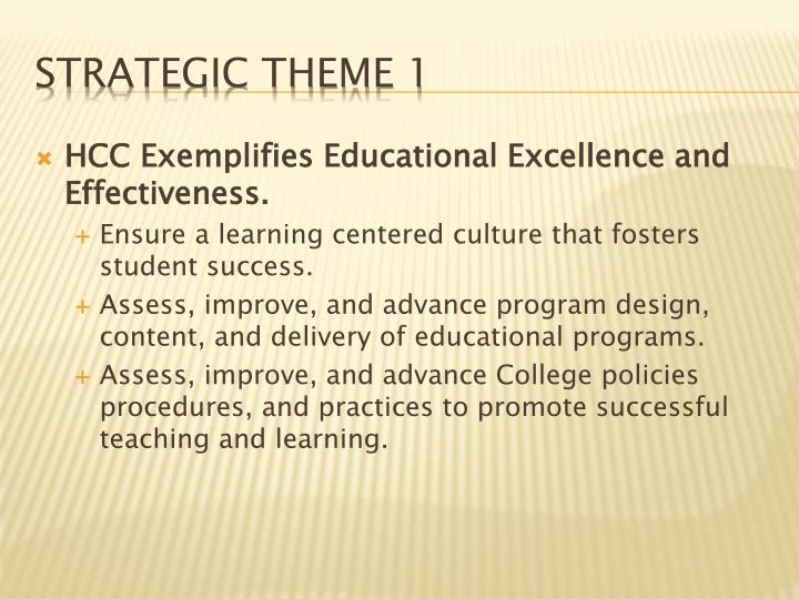 HCC Exemplifies Educational Excellence and Effectiveness.