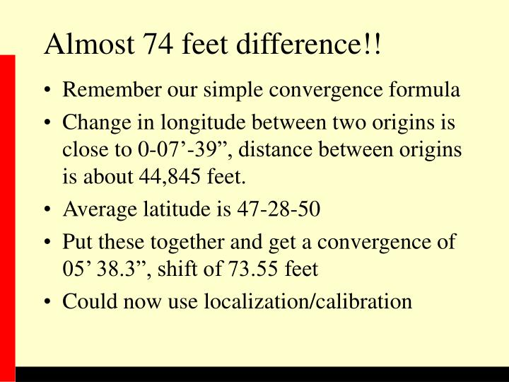 Almost 74 feet difference!!