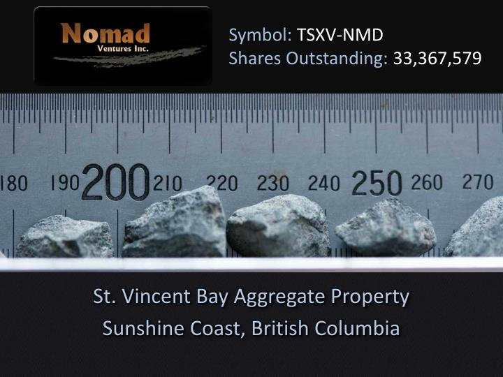 symbol tsxv nmd shares outstanding 33 367 579 n.
