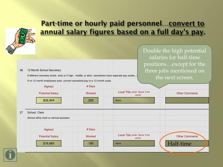 Part-time or hourly paid personnel…
