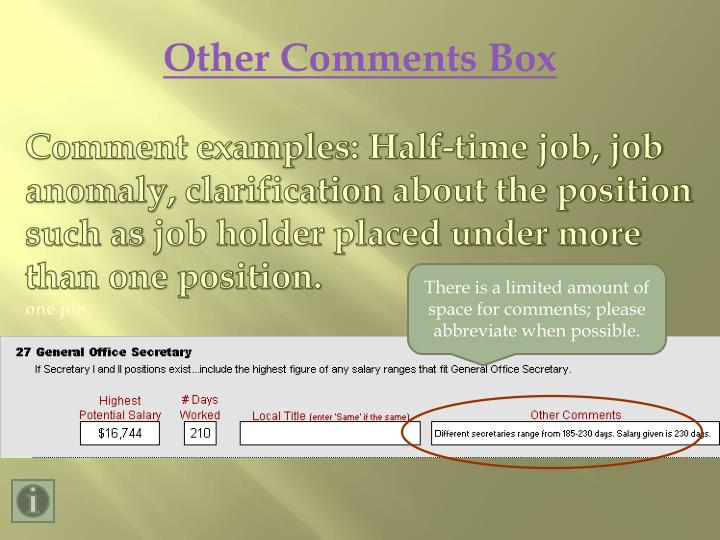 Other Comments Box