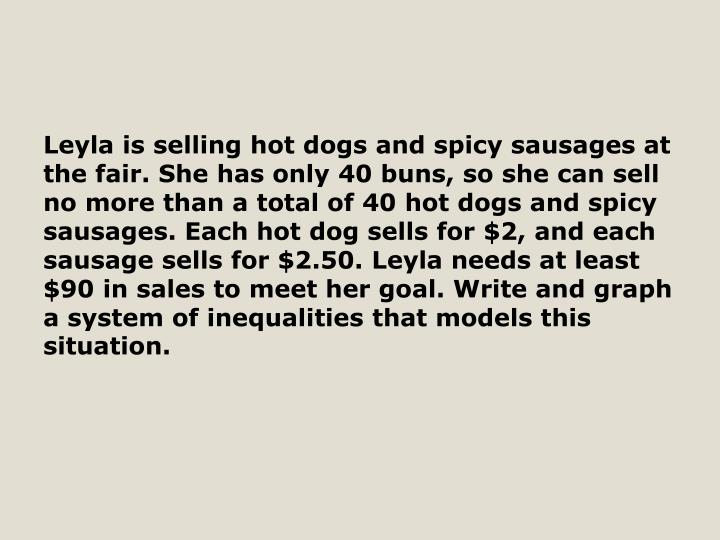 Leyla is selling hot dogs and spicy sausages at the fair. She has only 40 buns, so she can sell no m...
