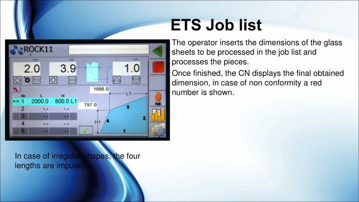ETS Job list