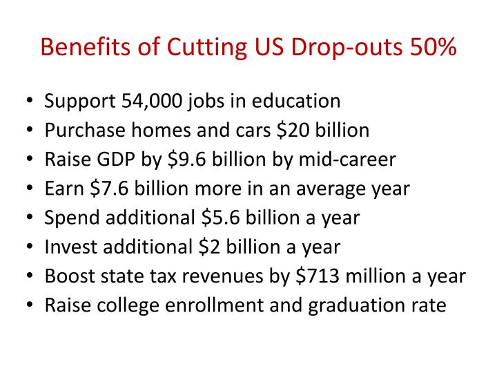 Benefits of Cutting US Drop-outs 50%