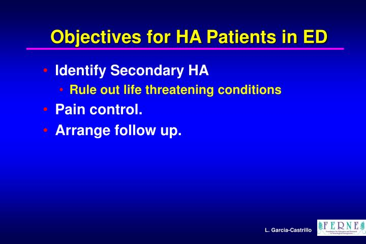 Objectives for HA Patients in ED