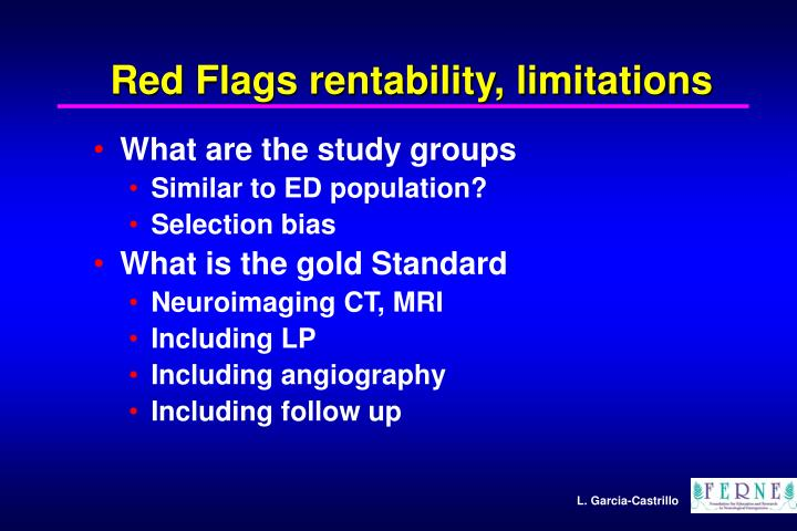 Red Flags rentability, limitations