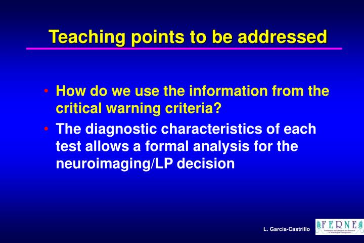 Teaching points to be addressed