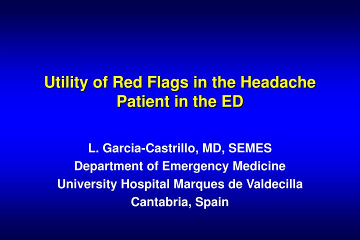 Utility of red flags in the headache patient in the ed