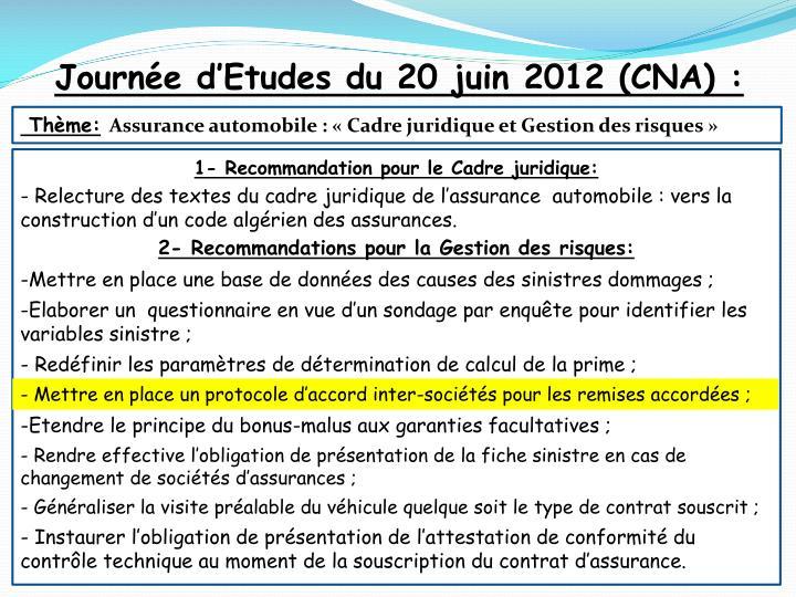 Journée d'Etudes du 20 juin 2012 (CNA) :