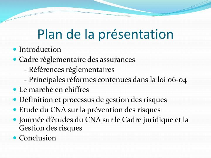 Plan de la pr sentation