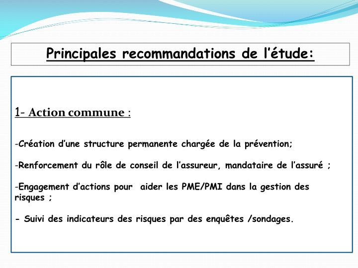 Principales recommandations de l'étude: