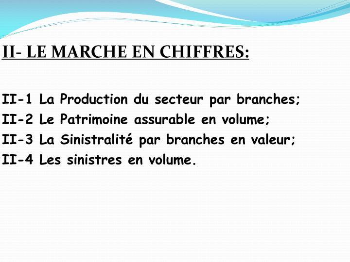 II- LE MARCHE EN CHIFFRES: