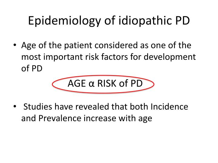 Epidemiology of idiopathic PD