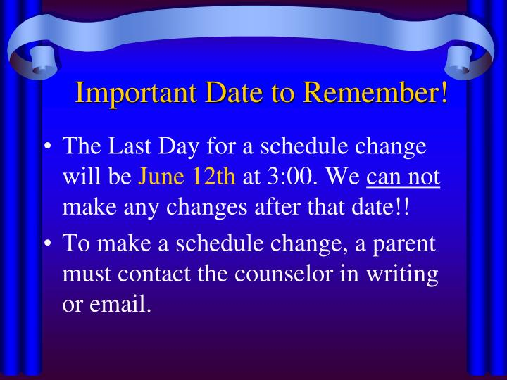Important date to remember