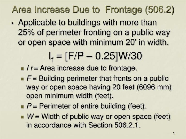 area increase due to frontage 506 2 n.