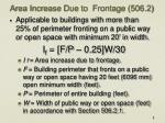 area increase due to frontage 506 2