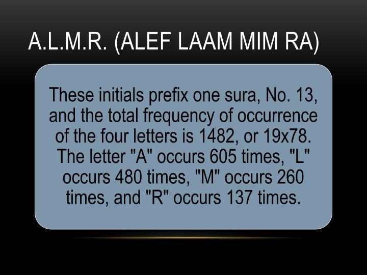 A.L.M.R. (Alef Laam Mim Ra)