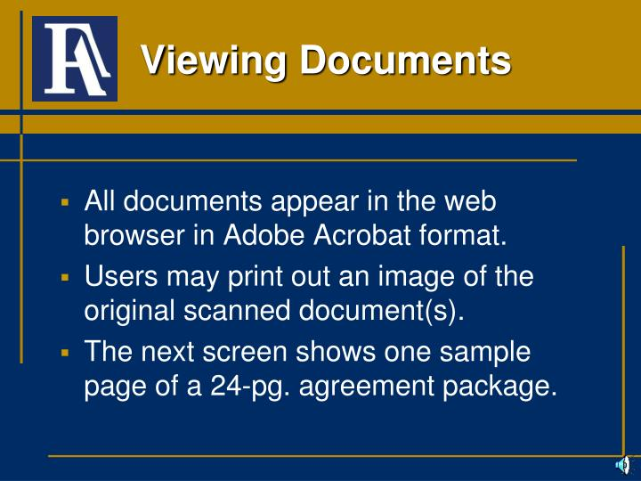 All documents appear in the web browser in Adobe Acrobat format.