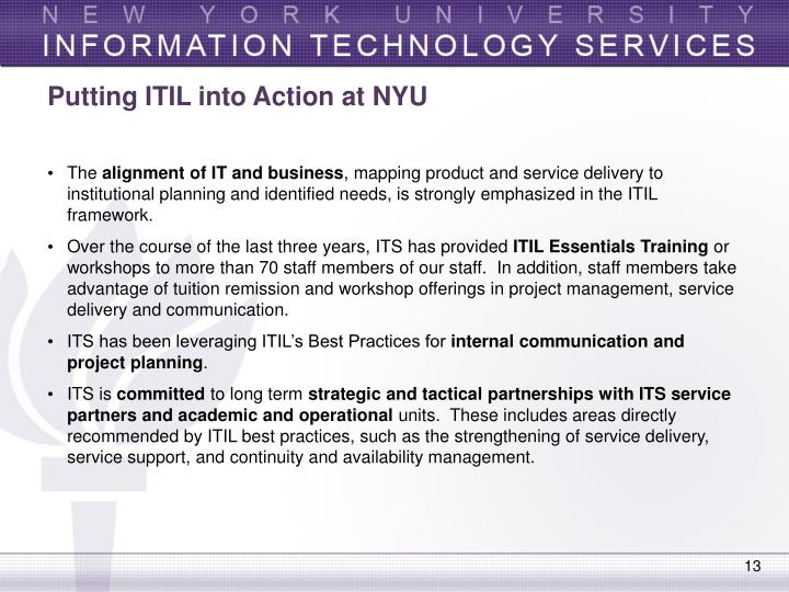 Putting ITIL into Action at NYU