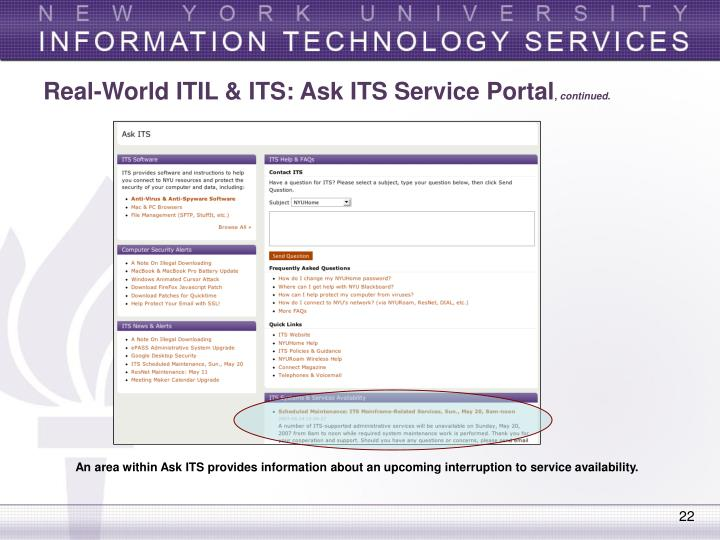 Real-World ITIL & ITS: Ask ITS Service Portal