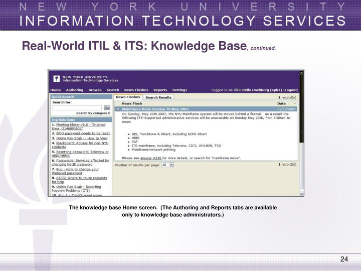 Real-World ITIL & ITS: Knowledge Base