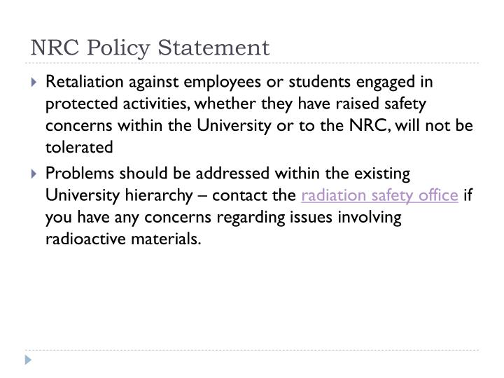 NRC Policy Statement