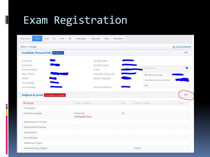 Exam Registration
