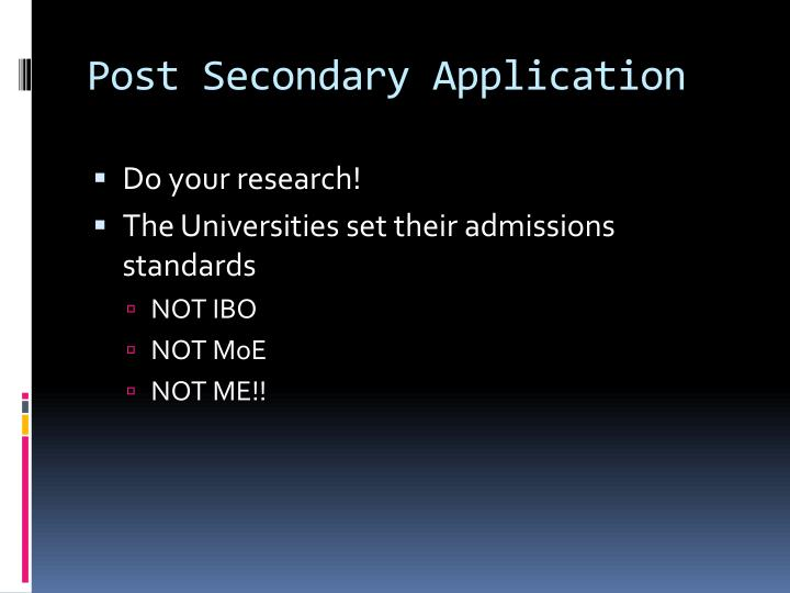 Post Secondary Application