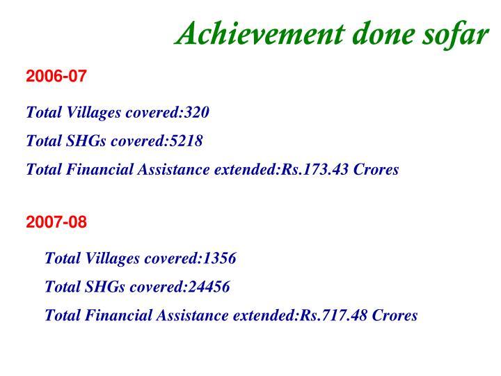 Achievement done sofar
