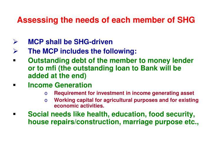 Assessing the needs of each member of SHG