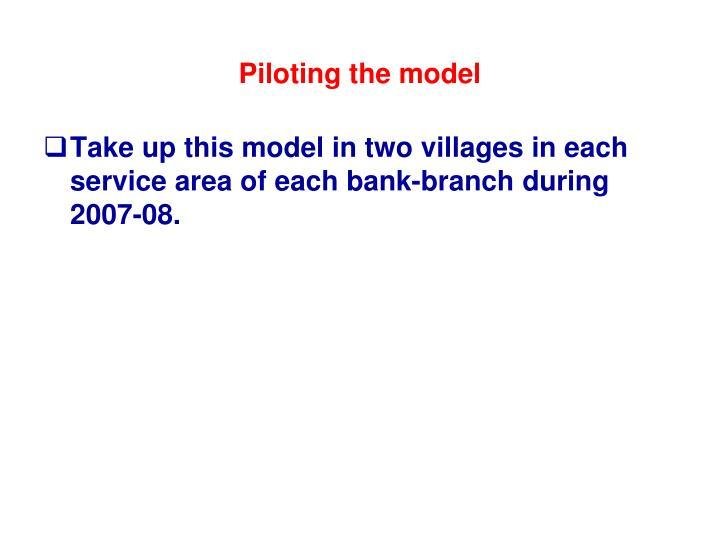 Piloting the model