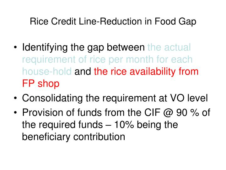 Rice Credit Line-Reduction in Food Gap
