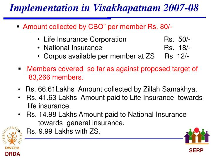 Implementation in Visakhapatnam 2007-08