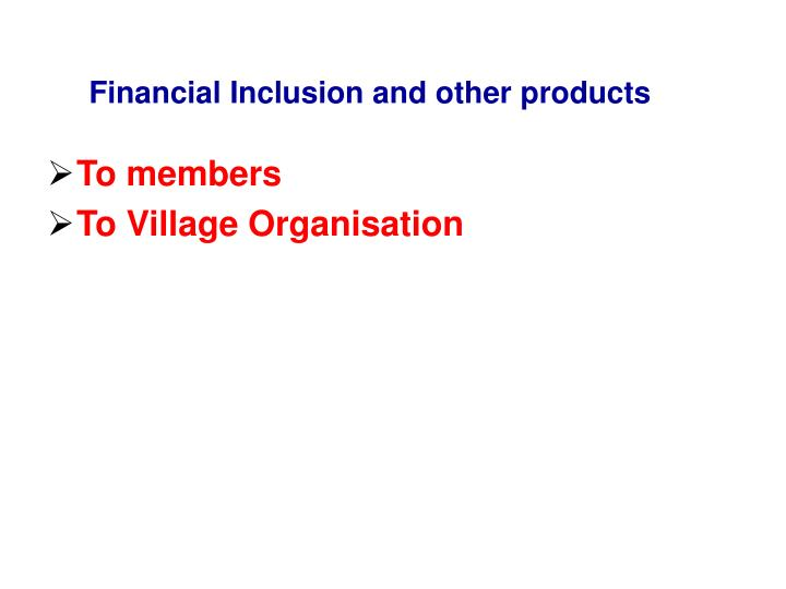 Financial Inclusion and other products