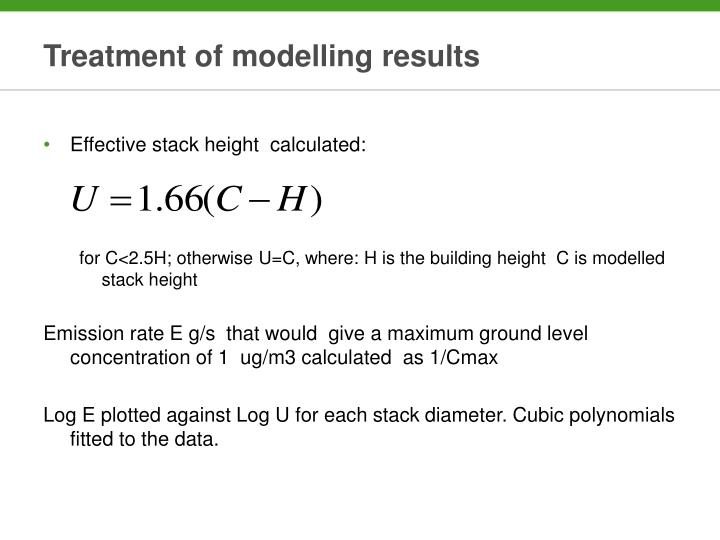 Treatment of modelling results