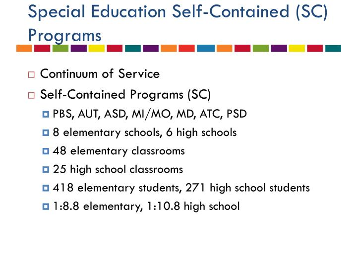 Special Education Self-Contained (SC) Programs