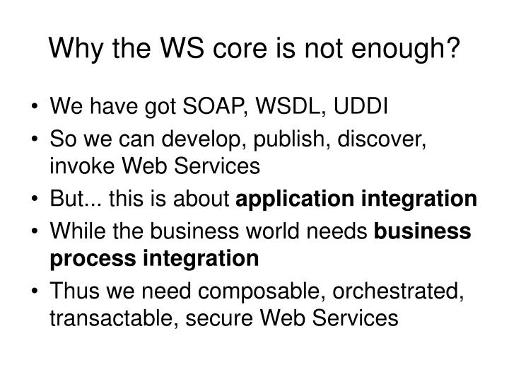 Why the ws core is not enough