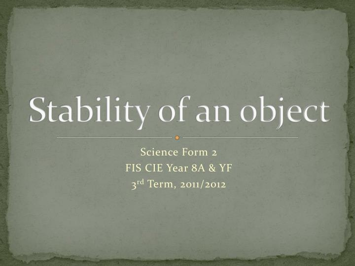 stability of an object n.